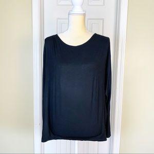 Black Bead Black Off Shoulder Open Back Top Size S